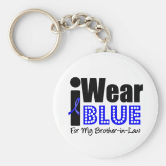 Colon Cancer I Wear Blue Ribbon For Brother-in-Law Basic Round Button Keychain