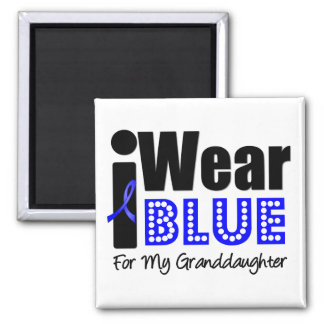 Colon Cancer I Wear Blue Ribbon For Grandaughter 2 Inch Square Magnet