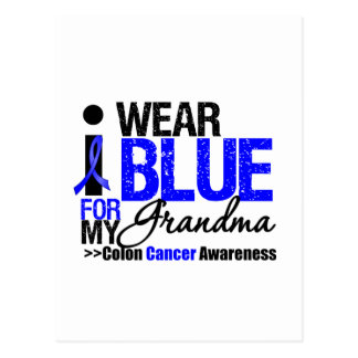 Colon Cancer I Wear Blue Ribbon For My Grandma Postcards