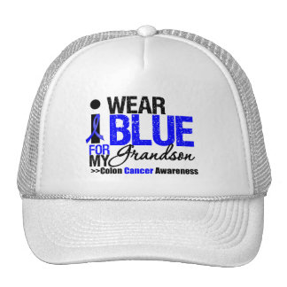Colon Cancer I Wear Blue Ribbon For My Grandson Hats