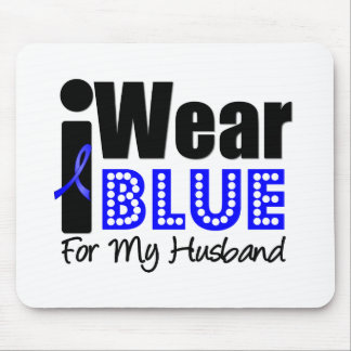 Colon Cancer I Wear Blue Ribbon For My Husband Mouse Pads