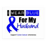 Colon Cancer I Wear Blue Ribbon For My Husband Postcards