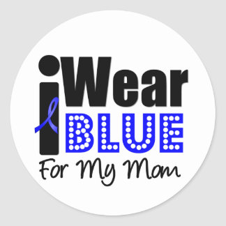 Colon Cancer I Wear Blue Ribbon For My Mom Classic Round Sticker