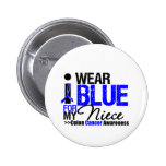 Colon Cancer I Wear Blue Ribbon For My Niece Pinback Button