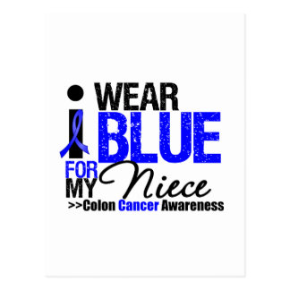 Colon Cancer I Wear Blue Ribbon For My Niece Postcard
