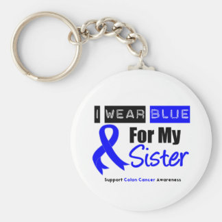 Colon Cancer I Wear Blue Ribbon For My Sister Basic Round Button Keychain