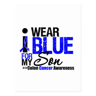 Colon Cancer I Wear Blue Ribbon For My Son Postcards