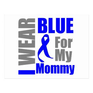 Colon Cancer I Wear Blue Ribbon Mommy Postcard
