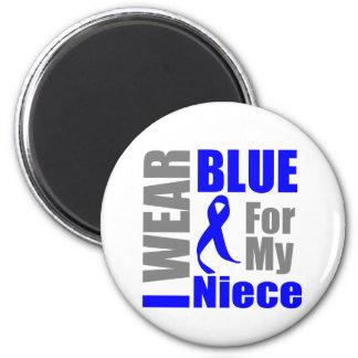 Colon Cancer I Wear Blue Ribbon Niece 2 Inch Round Magnet