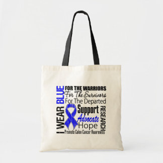 Colon Cancer I Wear Blue Ribbon TRIBUTE Tote Bags