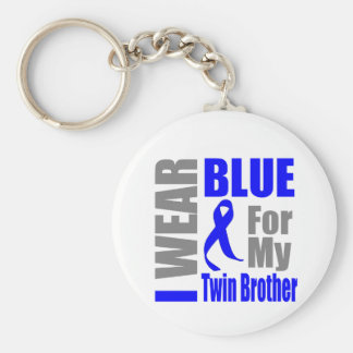 Colon Cancer I Wear Blue Ribbon Twin Brother Basic Round Button Keychain
