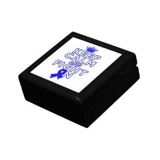 Colon Cancer Keep Calm Fight On Trinket Box
