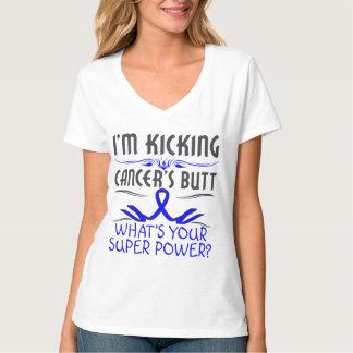 Colon Cancer Kicking Cancer Butt Super Power T-Shirt