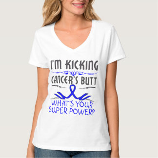 Colon Cancer Kicking Cancer Butt Super Power Tshirt
