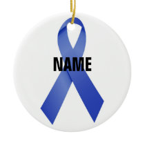 Colon Cancer Memorial Ribbon Ceramic Ornament