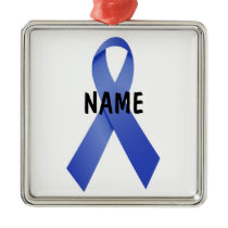 Colon Cancer Memorial Ribbon Metal Ornament