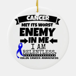 Colon Cancer Met Its Worst Enemy in Me Ceramic Ornament