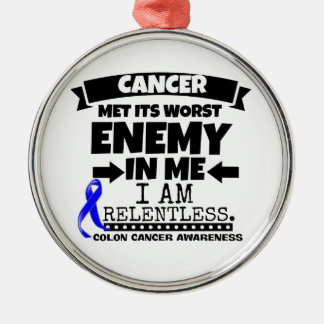 Colon Cancer Met Its Worst Enemy in Me Metal Ornament