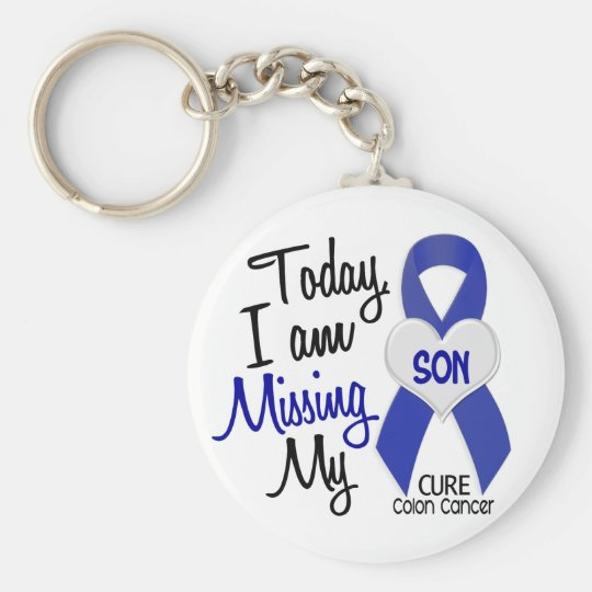 Colon Cancer Missing My Son Keychain Zazzle Com