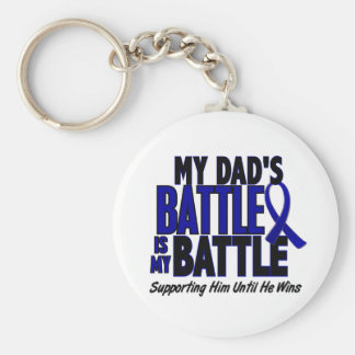 Colon Cancer MY BATTLE TOO 1 Dad Basic Round Button Keychain