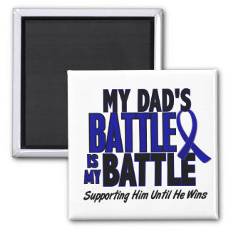 Colon Cancer MY BATTLE TOO 1 Dad 2 Inch Square Magnet