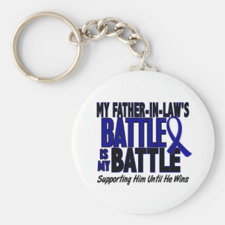 Colon Cancer MY BATTLE TOO 1 Father-In-Law Basic Round Button Keychain