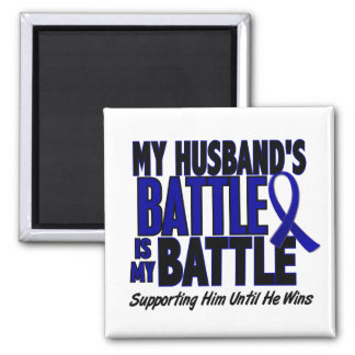 Colon Cancer MY BATTLE TOO 1 Husband 2 Inch Square Magnet