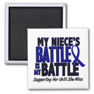 Colon Cancer MY BATTLE TOO 1 Niece 2 Inch Square Magnet