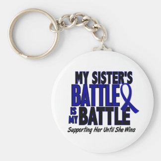 Colon Cancer MY BATTLE TOO 1 Sister Basic Round Button Keychain