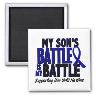 Colon Cancer MY BATTLE TOO 1 Son 2 Inch Square Magnet