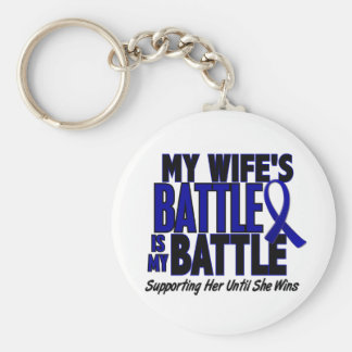 Colon Cancer MY BATTLE TOO 1 Wife Keychain