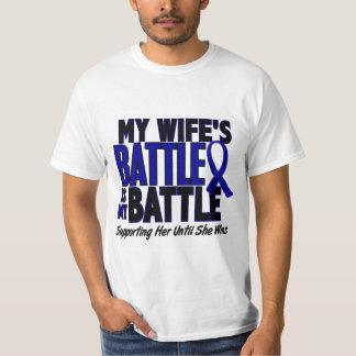 Colon Cancer MY BATTLE TOO 1 Wife Tee Shirt