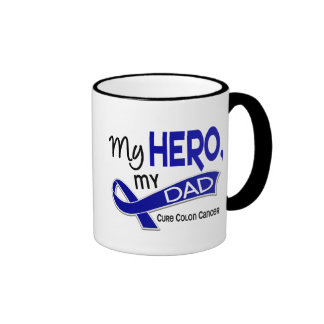 Colon Cancer MY HERO MY DAD 42 Ringer Coffee Mug