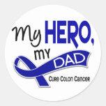 Colon Cancer MY HERO MY DAD 42 Classic Round Sticker