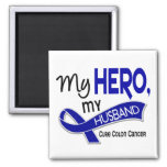 Colon Cancer MY HERO MY HUSBAND 42 2 Inch Square Magnet