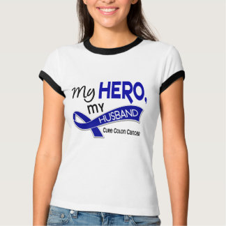 Colon Cancer MY HERO MY HUSBAND 42 T-Shirt