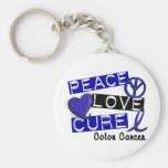 Colon Cancer PEACE LOVE CURE 1 Basic Round Button Keychain