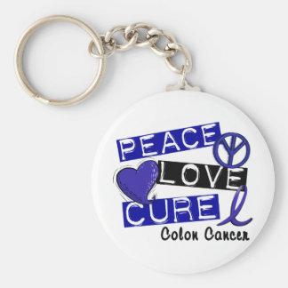 Colon Cancer PEACE LOVE CURE 1 Basic Round Button Keychain