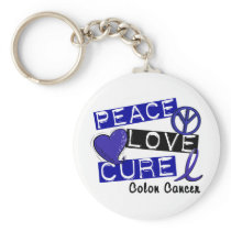 Colon Cancer PEACE LOVE CURE 1 Keychain