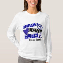 Colon Cancer PEACE LOVE CURE 1 T-Shirt
