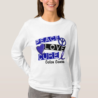 Colon Cancer PEACE LOVE CURE 1 T-Shirt