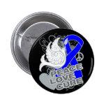 Colon Cancer Peace Love Cure 2 Inch Round Button
