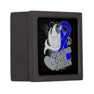 Colon Cancer Peace Love Cure Premium Jewelry Box