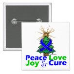 Colon Cancer Peace Love Joy Cure Pinback Button