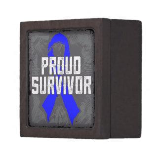Colon Cancer Proud Survivor Premium Jewelry Box