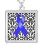 Colon Cancer Ribbon Damask Deco Pendants