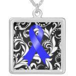 Colon Cancer Ribbon Deco Floral Noir Square Pendant Necklace