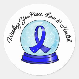Colon Cancer Ribbon Merry Christmas Snowglobe Classic Round Sticker