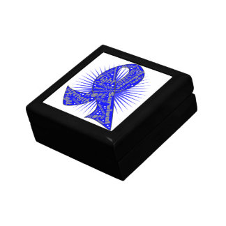 Colon Cancer Ribbon Powerful Slogans Trinket Box