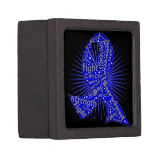 Colon Cancer Ribbon Powerful Slogans Premium Gift Boxes
